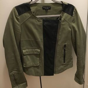 Max Studio Green Jacket with Faux Leather Panels